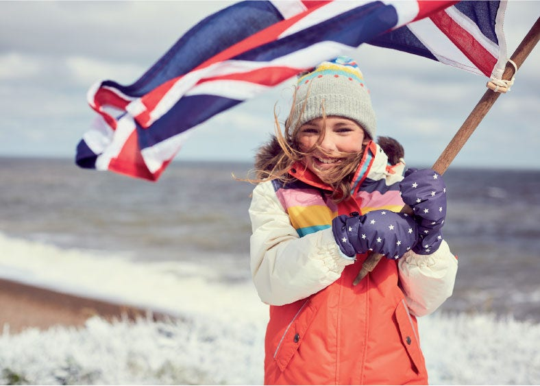 Girl wearing a British flag